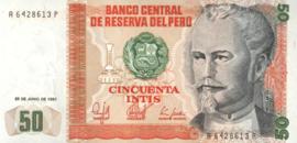 Peru P131.a 50 Intis 1986