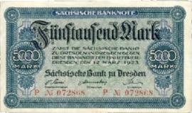 Sächsische Bank zu Dresden  5.000 Mark 1923 Ros.SAX14.i