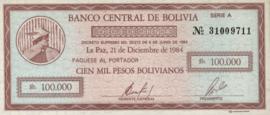 Bolivia  P188 100.000 Pesos Bolivianos 1984