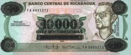 Nicaragua P158 10.000 Córdobas on 10 Córdobas 1989 (No date)