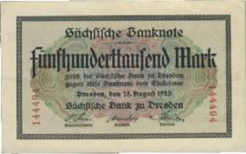 Sächsische Bank zu Dresden  500.000 Mark 1923 Ros.SAX18.a