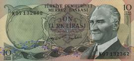 Turkije P186 10 Lira 1970
