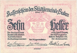 Oostenrijk - Noodgeld - Baden KK74.a 10 Heller 1920