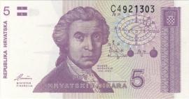 Kroatië P17.a 5 Dinara 1991 UNC