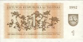 Litouwen P39.a 1 Talonas 1992