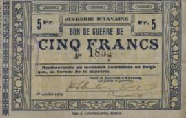België - Anvaing  5 Francs 1914