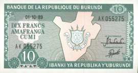Burundi P33.b 10 Francs 1989
