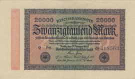 Duitsland P085 20.000 Mark 1923-02-20 Ros.084.h Wmk: Doornen