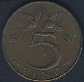5 Cent 1967 leaves do not touch edge