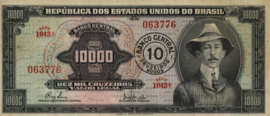 Brazilië P189.b 10 Cruzeiros novos on 10.000 cruzeiros 1966-67 (No date)