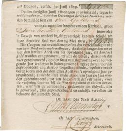 Nederland, Almelo, Interestcoupon van 4% op kapitaal, 1829