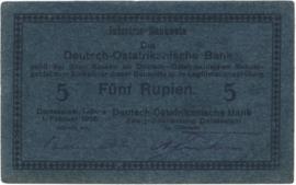 5 (Fünf) Rupien Interims-Banknote 1916. Ros933e
