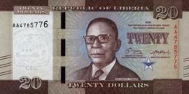 Liberia P33.a 20 Dollars 2016-'17