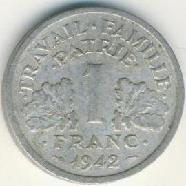 Frankrijk 1 Franc KM902 1942 Vichy