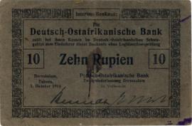 10 (Zehn) Rupien Interims-Banknote 1915. Ros912a:DOAB