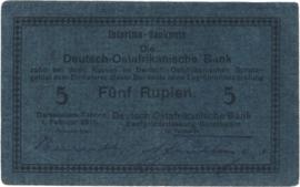 5 (Fünf) Rupien Interims-Banknote 1916. Ros933d