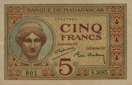 Madagascar P35 5 Francs 1937 (No date)