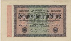 Duitsland P085 20.000 Mark 1923-02-20 Ros.084.j Wmk: Golven