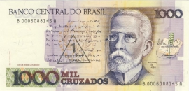 Brazilië P216.b: 1 Cruzado Novo on 1.000 Cruzados No Date 1989 UNC