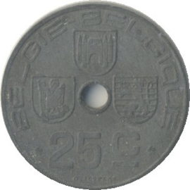 België KM132 25 Centimen 1942