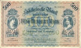 Sächsische Bank zu Dresden 500 Mark 1922 Ros.SAX10a