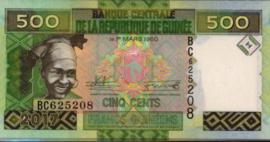 Guinée P47.b 500 Francs 2017
