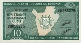 Burundi P33.e 10 Francs 2011