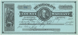 Nevada, Humboldt County Warrant, Salary Fund, Winnemucca. 1919