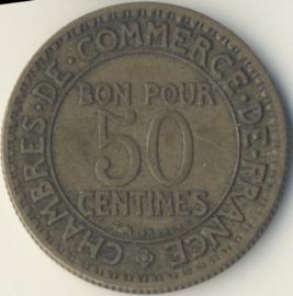 Frankrijk 50 Centimes KM884 1921-29