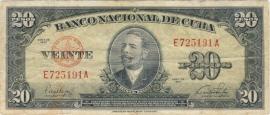 Cuba P80.a 20 Pesos 1949-60