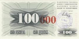 Bosnië-Herzegovina P056b 100.000 Dinara 1993 UNC