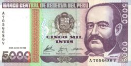 Peru P137 5.000 Intis 1988