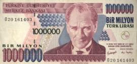 Turkije P213.b 1.000.000 Lira 1970 (No date)