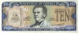 Liberia P27 10 Dollars 2011