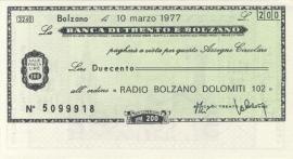 Banca di Trento e Bolzano 200 Lire