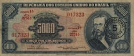 Brazilië  P188 5 Cruzeiros Novos on 5.000 Cruzeiros 1966-67 (No date)