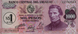 Uruguay P55.a 1 Nuevo Peso on 1.000 Pesos 1975 (No date)