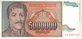 Joegoslavië P132 5.000.000 Dinara 1993