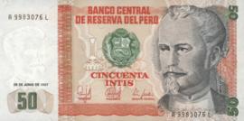 Peru  P131b 50 Intis 1986-1987