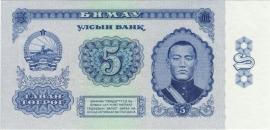 Mongolië P37 5 Tugrik 1966 UNC