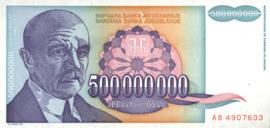 Joegoslavië P134 500.000.000 Dinara 1993