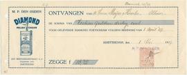 Nederland, Amsterdam, Kwitantie, M.P. Den Ouden, 1927