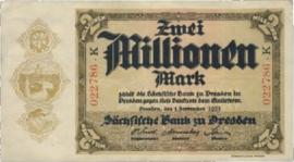 Sächsische Bank zu Dresden  2.000.000 Mark 1923 Ros.SAX20