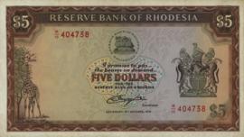 Rhodesië P36b 5 Dollars 1976-78
