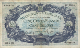 België P109.a 500 Francs / 100 Belgas 1938-43