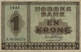 Noorwegen P15.h 1 Krone 1947
