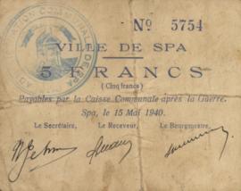 België - SPA  5 Francs 1940