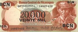 Nicaragua P147 20.000 Córdobas on 20 Córdobas 1987 (No date)