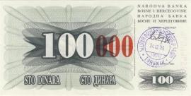 Bosnië-Herzegovina P056.d 100.000 Dinara 1993 UNC