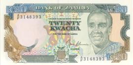Zambia P32.b 20 Kwacha 1989 (No date)